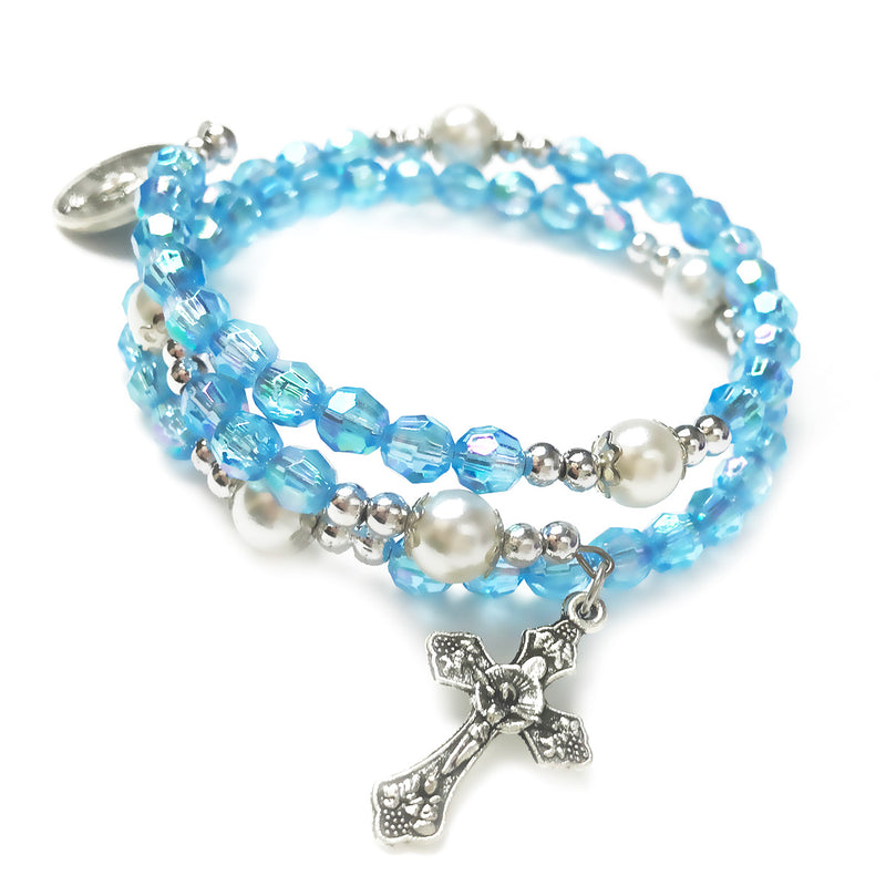 Heavenly Blue Crystal Full 5 Decade Rosary Bracelet