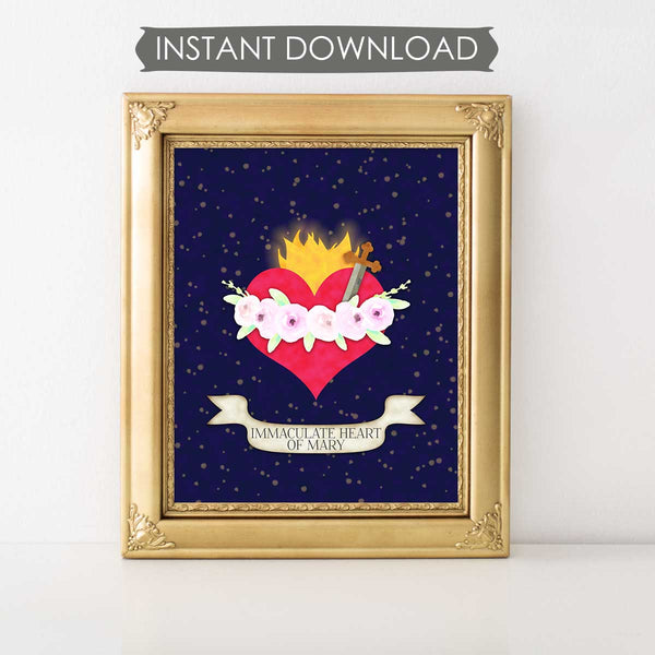 Immaculate Heart Of Mary INSTANT DOWNLOAD Printable Wall Art
