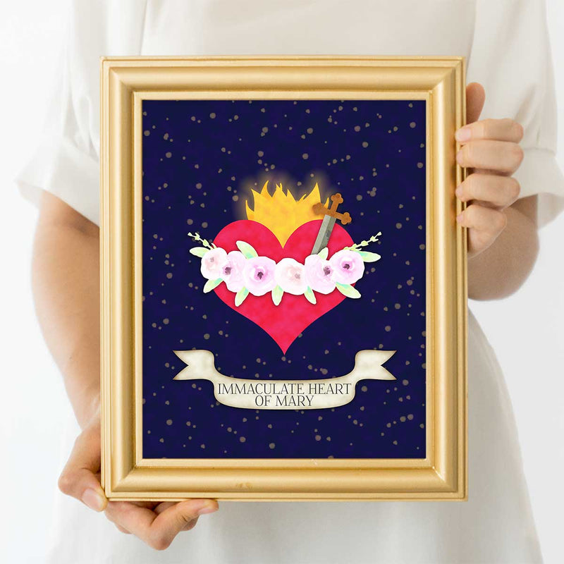 Immaculate Heart Of Mary Catholic Art Print