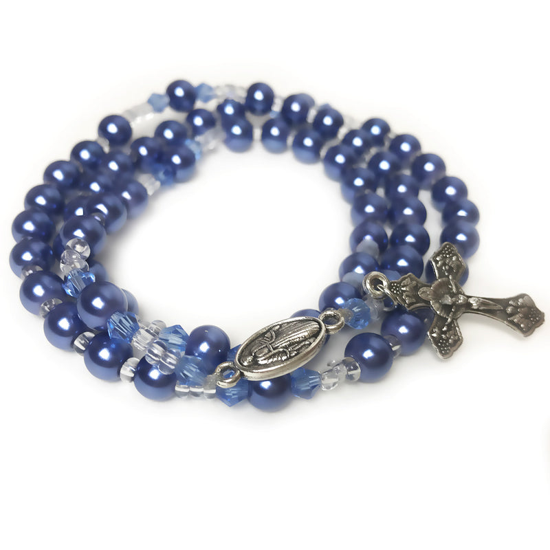 Blue Pearl Our Lady Of Grace Full 5 Decade Rosary Bracelet