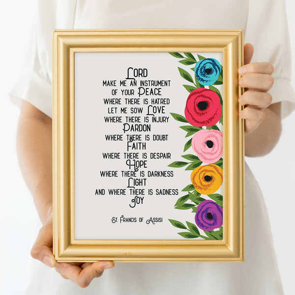 Lord Make Me An Instrument Of Your Peace Floral Prayer Art Print
