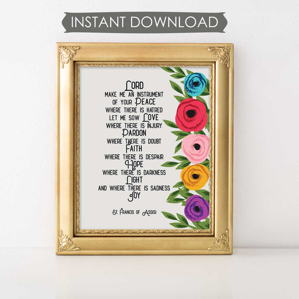 Lord Make Me An Instrument Of Your Peace Floral INSTANT DOWNLOAD Printable Prayer Art