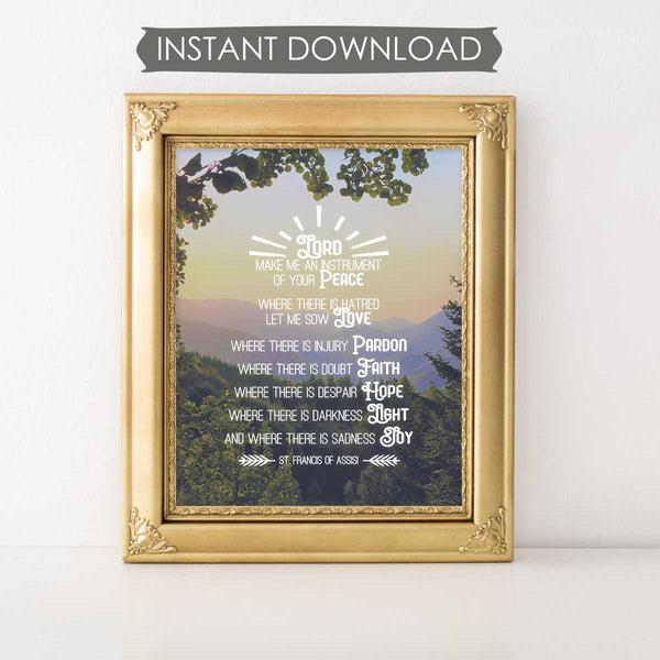 Lord Make Me An Instrument Of Your Peace Printable Prayer Art