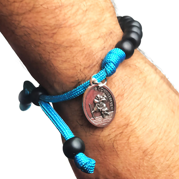 Men's Catholic Rosary Beads Bracelet - St. Christopher Ocean Blue Paracord Rosary Bracelet by Revolution Rosaries
