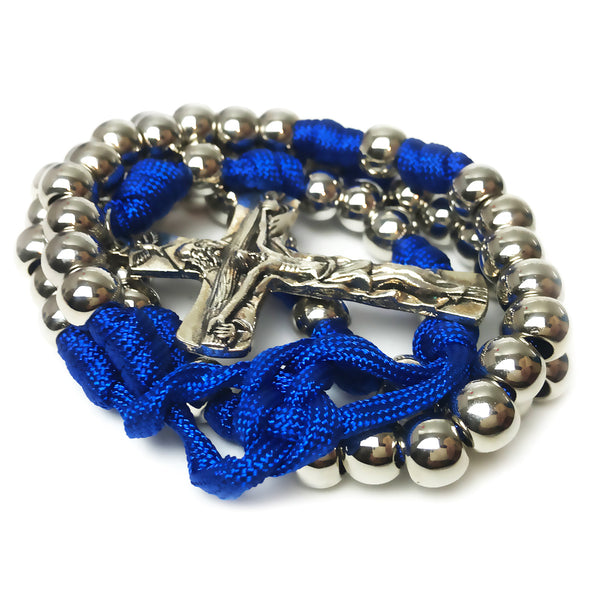 Men's Rosary - Archangel Blue Paracord Rosary - Tough & Rugged Rosary by Revolution Rosaries