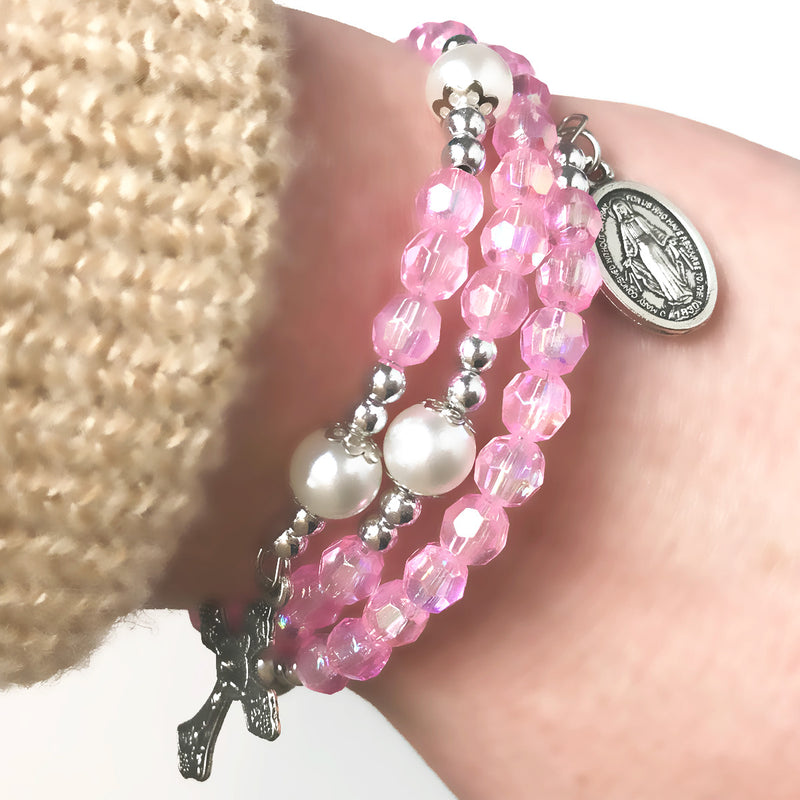 Angel Pink Crystal Full 5 Decade Rosary Bracelet