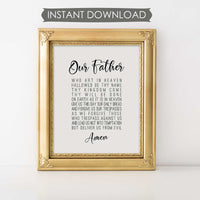 image regarding Printable Our Father Prayer titled No cost Our Dad Prayer Prompt Obtain Printable Wall Artwork