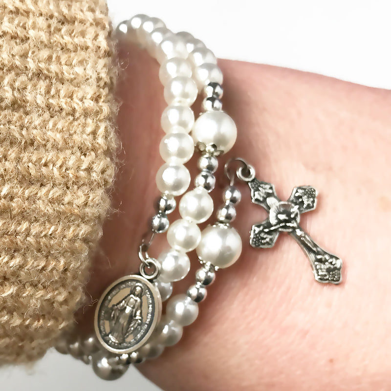 Miraculous Medal Pearl Full 5 Decade Rosary Bracelet by Risen Rosaries