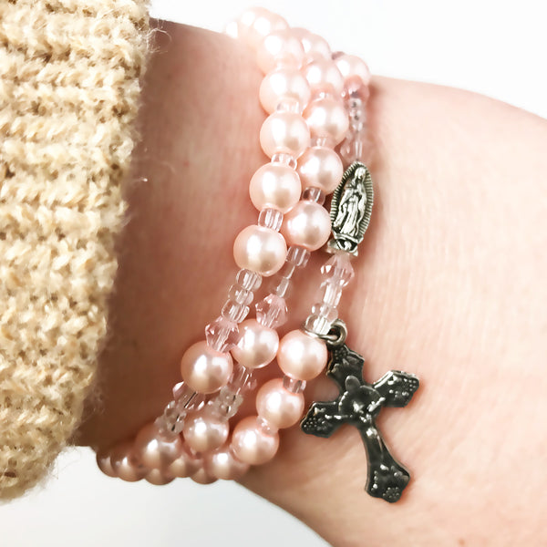 Pink Pearl Our Lady Of Guadalupe Full 5 Decade Rosary Bracelet