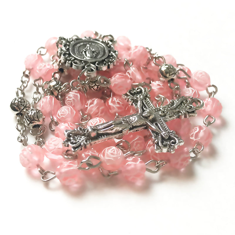Miraculous Medal Pink Rose Rosary by Risen Rosaries