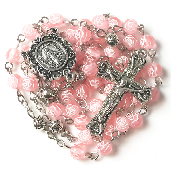 Miraculous Medal Pink Rose Rosary