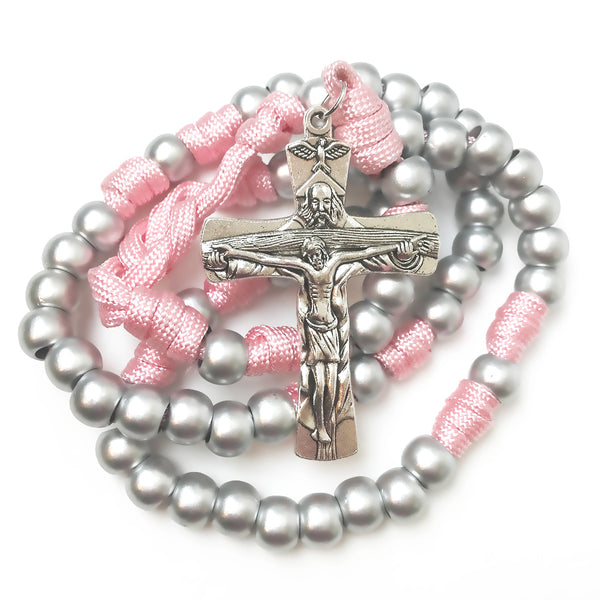 Holy Trinity Pink Paracord Rosary - Catholic Rosary Beads by Revolution Rosaries
