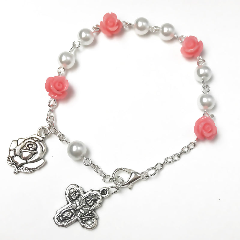four way medal rose rosary bracelet for women