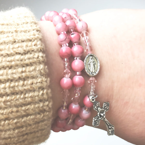 Marbled Pink Miraculous Medal 3-in-1 Full 5 Decade Rosary Bracelet