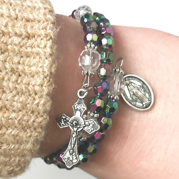 Rosary Bracelet - Prismatic Purple Crystal Full 5 Decade Rosary Bracelet