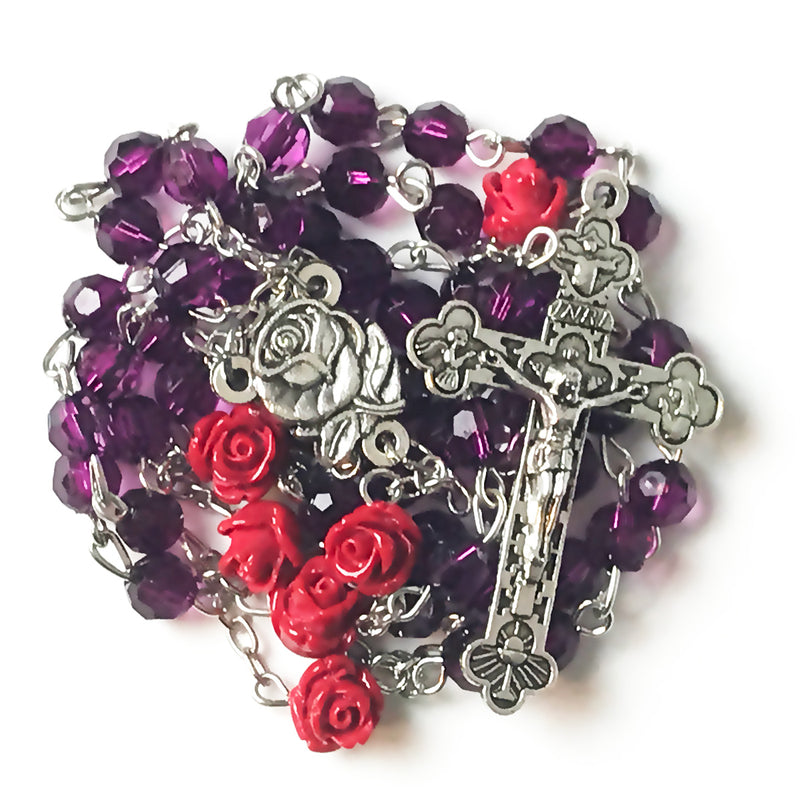Amethyst Purple Red Rose Rosary