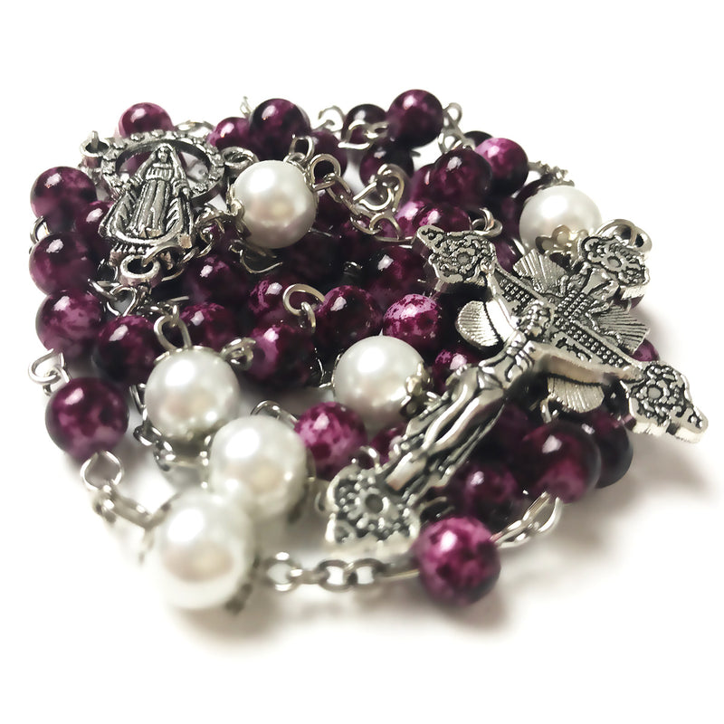 Our Lady Of Grace Amethyst Purple Rosary by Risen Rosaries