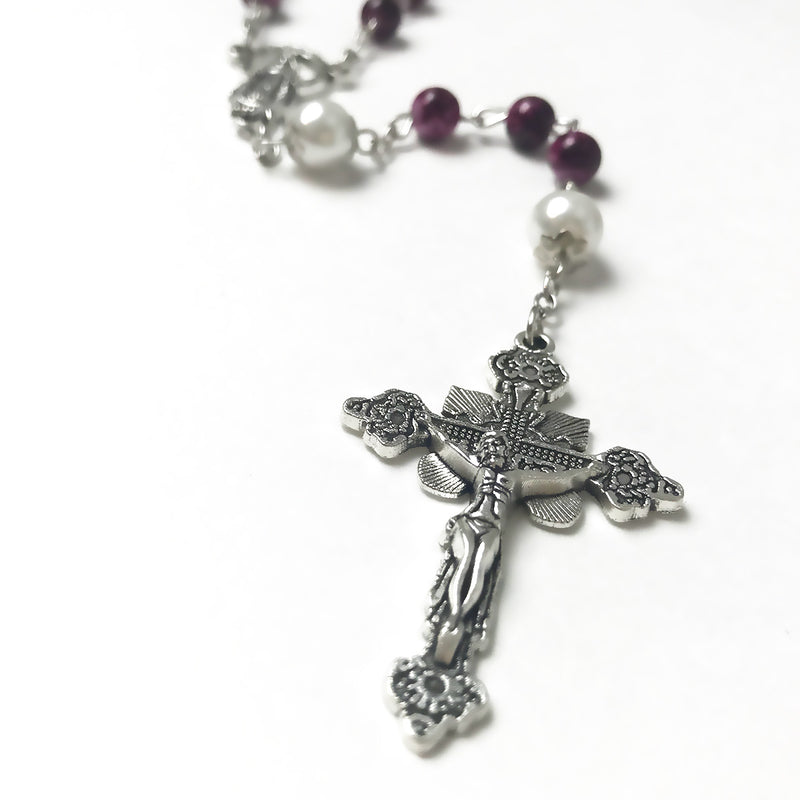 Our Lady Of Grace Amethyst Purple Rosary