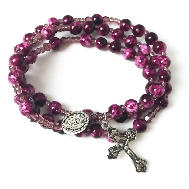 Marbled Amethyst Miraculous Medal 3-in-1 Full 5 Decade Rosary Bracelet by Risen Rosaries