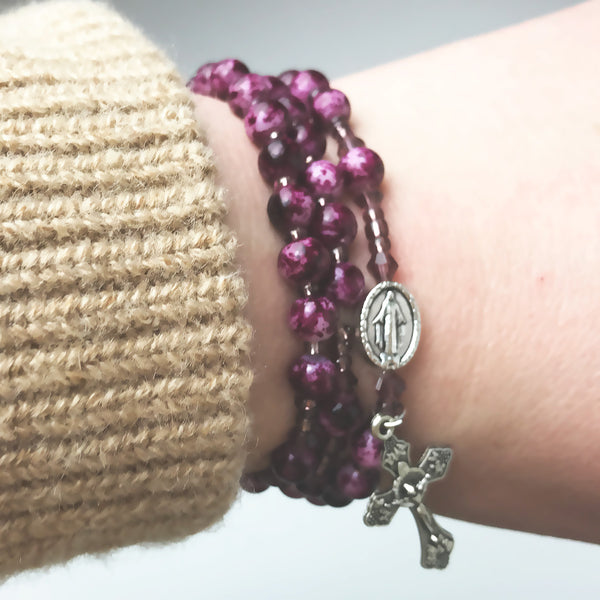 Marbled Amethyst Miraculous Medal 3-in-1 Full 5 Decade Rosary Bracelet