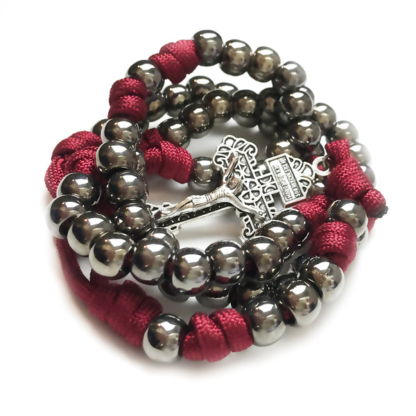 Men's Rosary - Blood Of Christ Paracord Rosary - Tough & Rugged Rosary by Revolution Rosaries