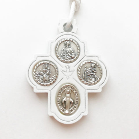 White Wooden Four Way Cross Pendant Necklace