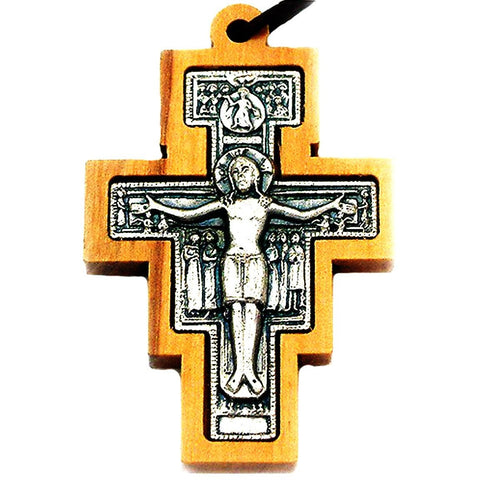 San Damiano Wooden Crucifix Pendant Necklace