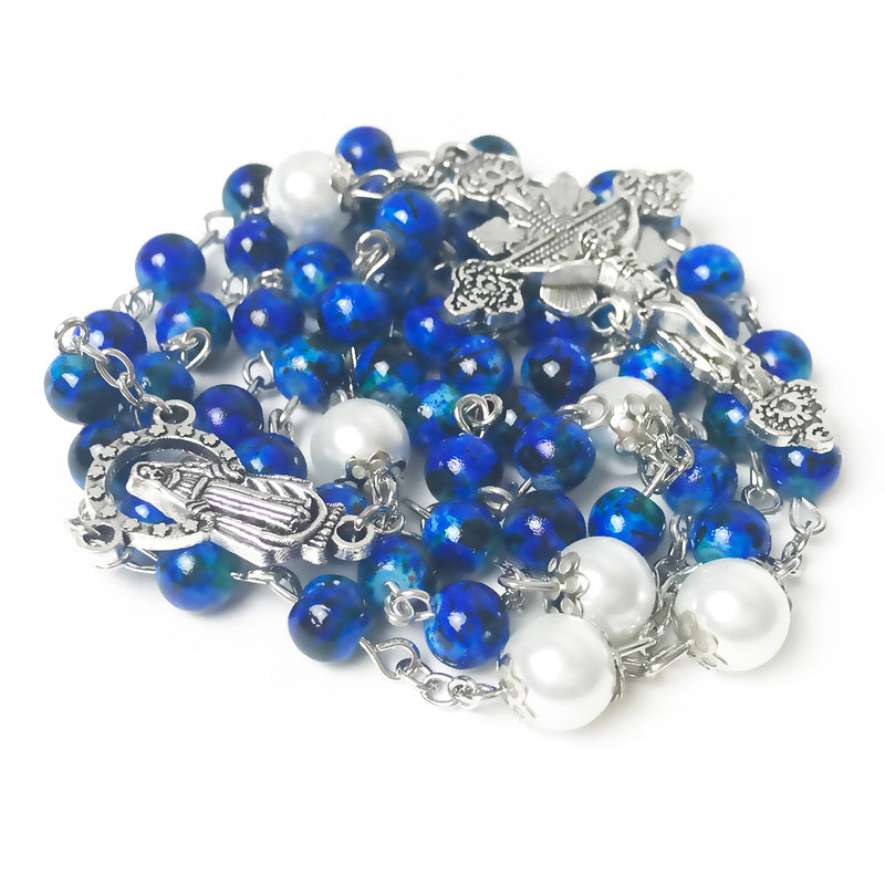 Our Lady Of Grace Royal Blue Rosary by Risen Rosaries