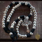 Men's Rosary - Silver Saint Paracord Rosary - Tough & Rugged Rosary by Revolution Rosaries