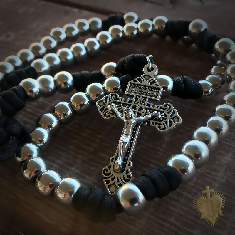 Men's Rosary - Silver Saint Paracord Rosary - Catholic Rosary Beads by Revolution Rosaries