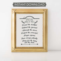 Spiritual Works Of Mercy INSTANT DOWNLOAD Printable Wall Art