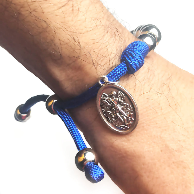 Men's Catholic Rosary Beads Bracelet - St. Michael Archangel Blue Paracord Rosary Bracelet by Revolution Rosaries