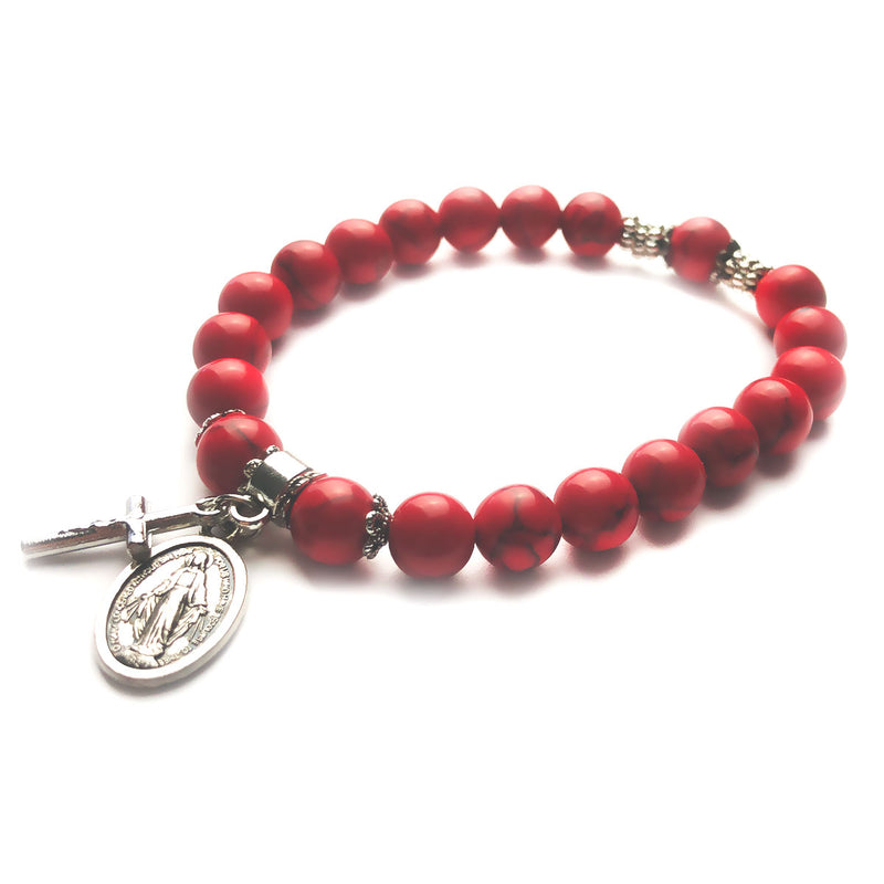 Miraculous Medal Stone Bead Bracelet - Red