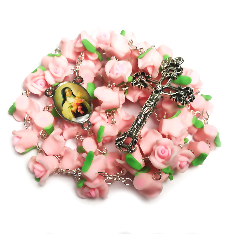 "St. Therese ""The Little Flower"" Pink Rose Garden Rosary"