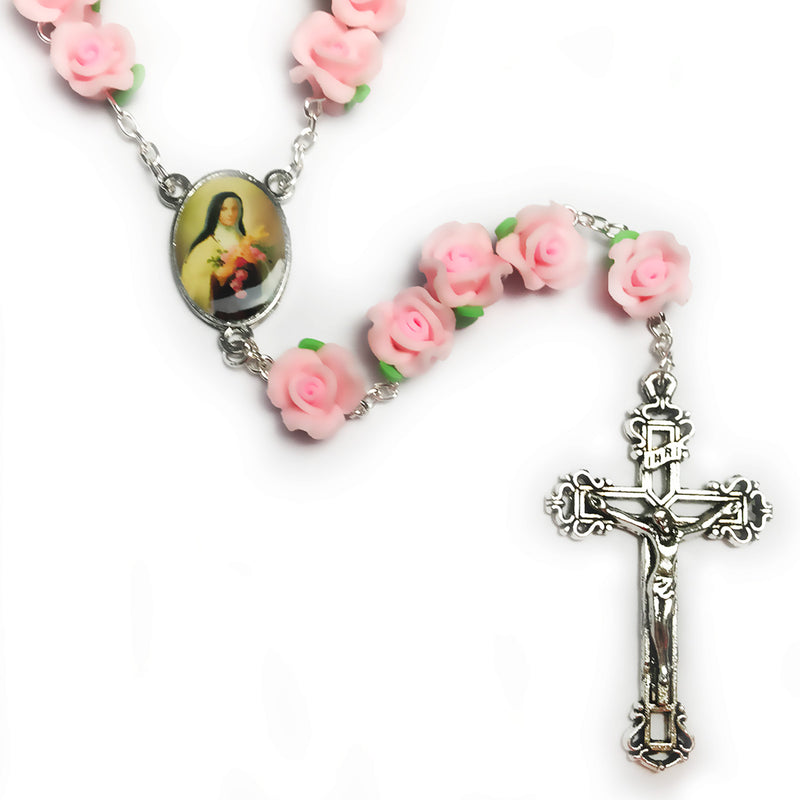 "Buy 1 Get 2 Free St. Therese ""The Little Flower"" Pink Rose Garden Rosary"