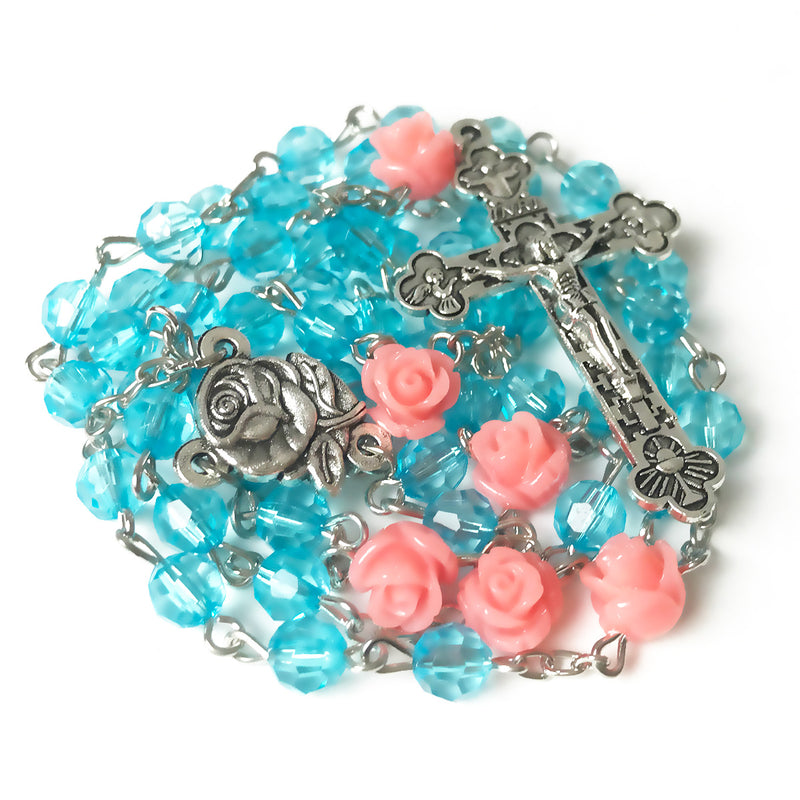 Turquoise Pink Rose Rosary by Risen Rosaries
