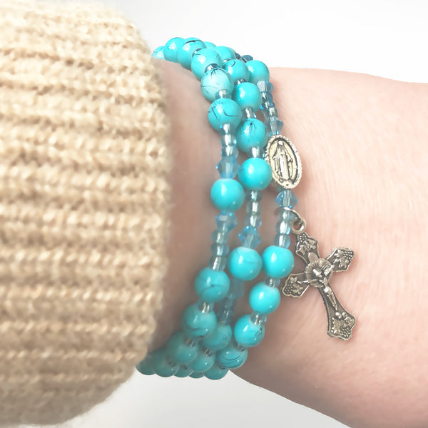 Marbled Turquoise Miraculous Medal 3-in-1 Full 5 Decade Rosary Bracelet