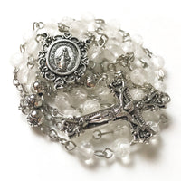 Miraculous Medal White Rose Rosary