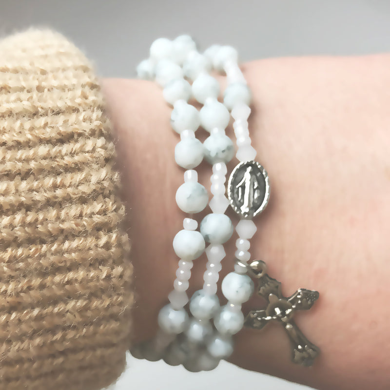 Marbled White Miraculous Medal 3-in-1 Full 5 Decade Rosary Bracelet