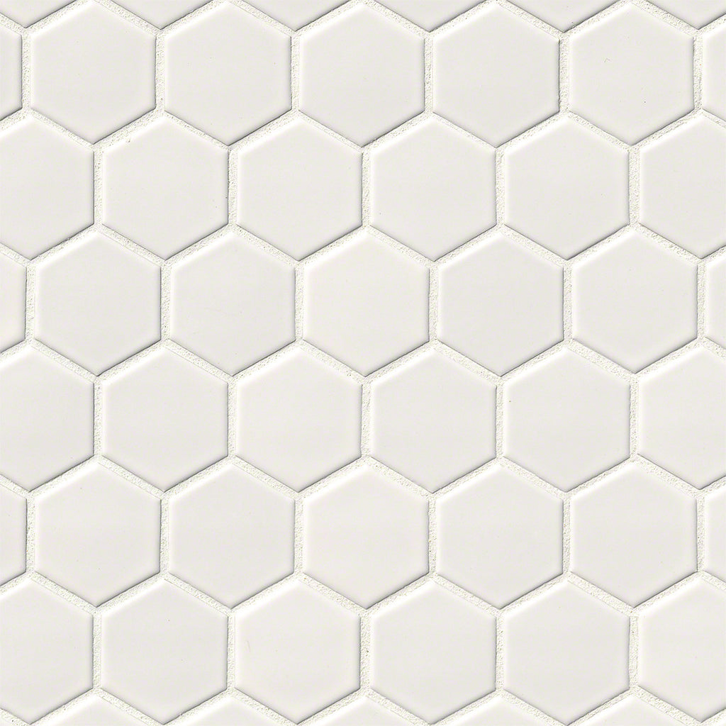 MO587 White Glossy 2x2 Hexagon
