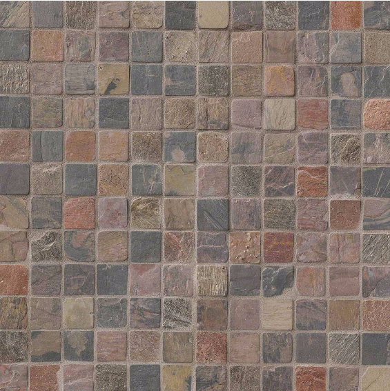 MO 419Mixed Slate And Quartzite 2x2 Tumbled In 12x12 Mesh