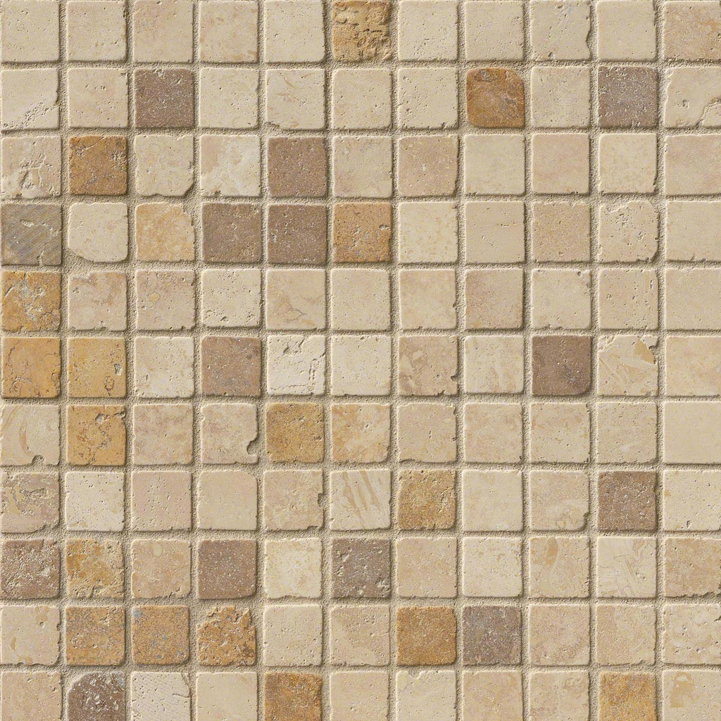 MO420 Mixed Travertine 1x1 Tumbled In 12x12 Mesh
