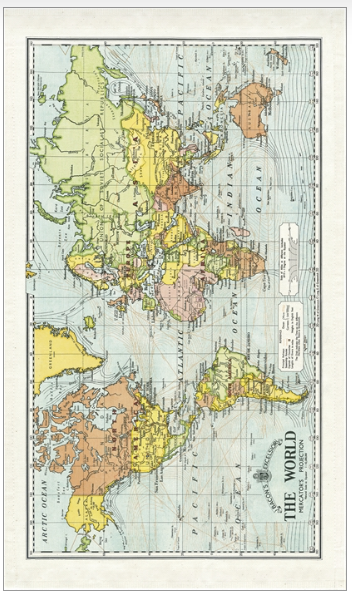Cavallini World Map Tea Towel