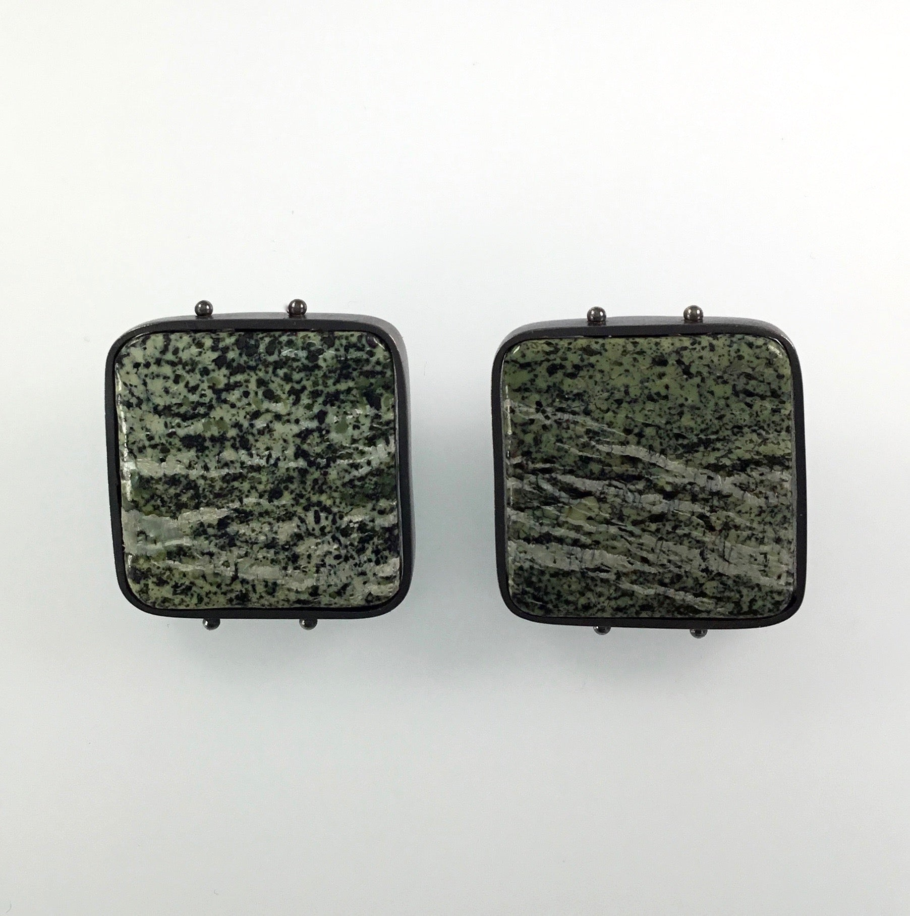 Ashka Dymel Square Clip Zebra Serpentine Earrings