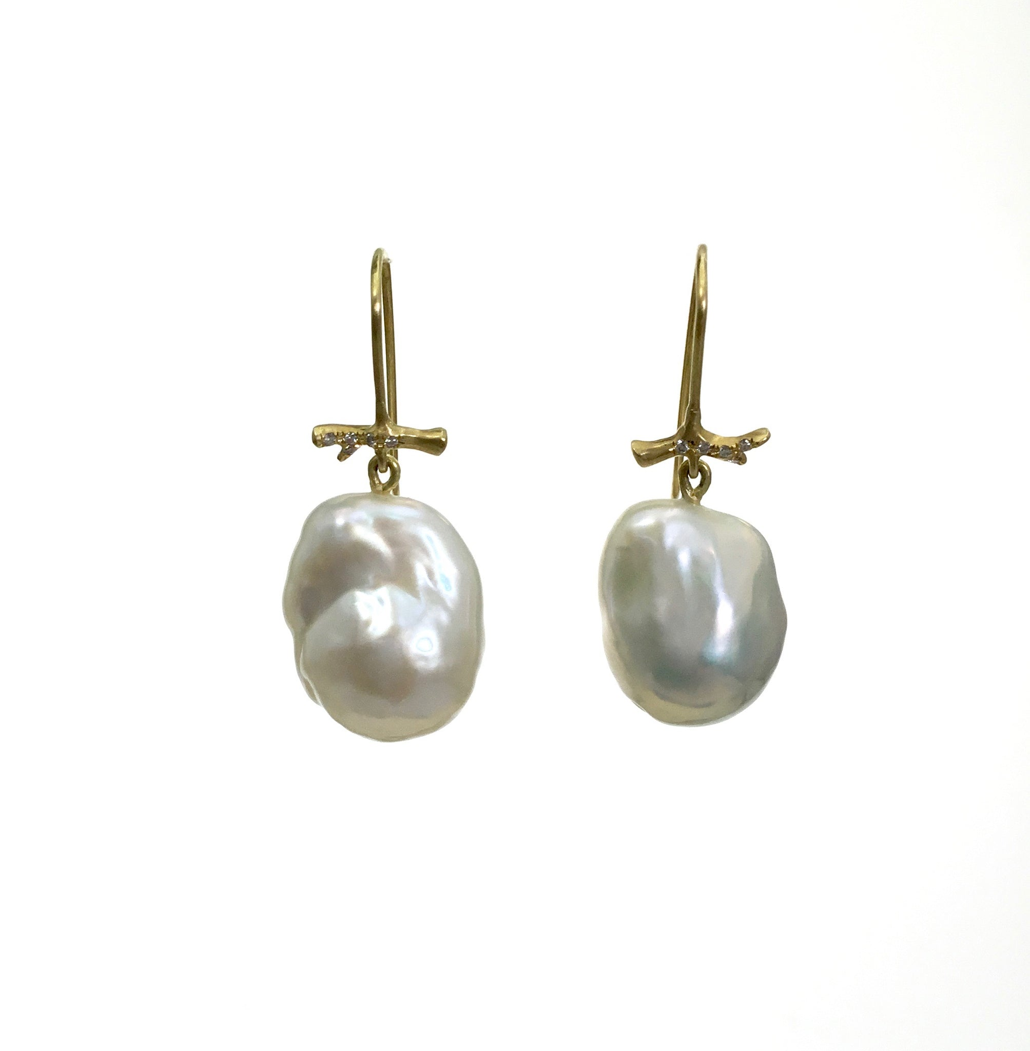 Annette Ferdinandsen Baroque Pearl and Diamond Earrings