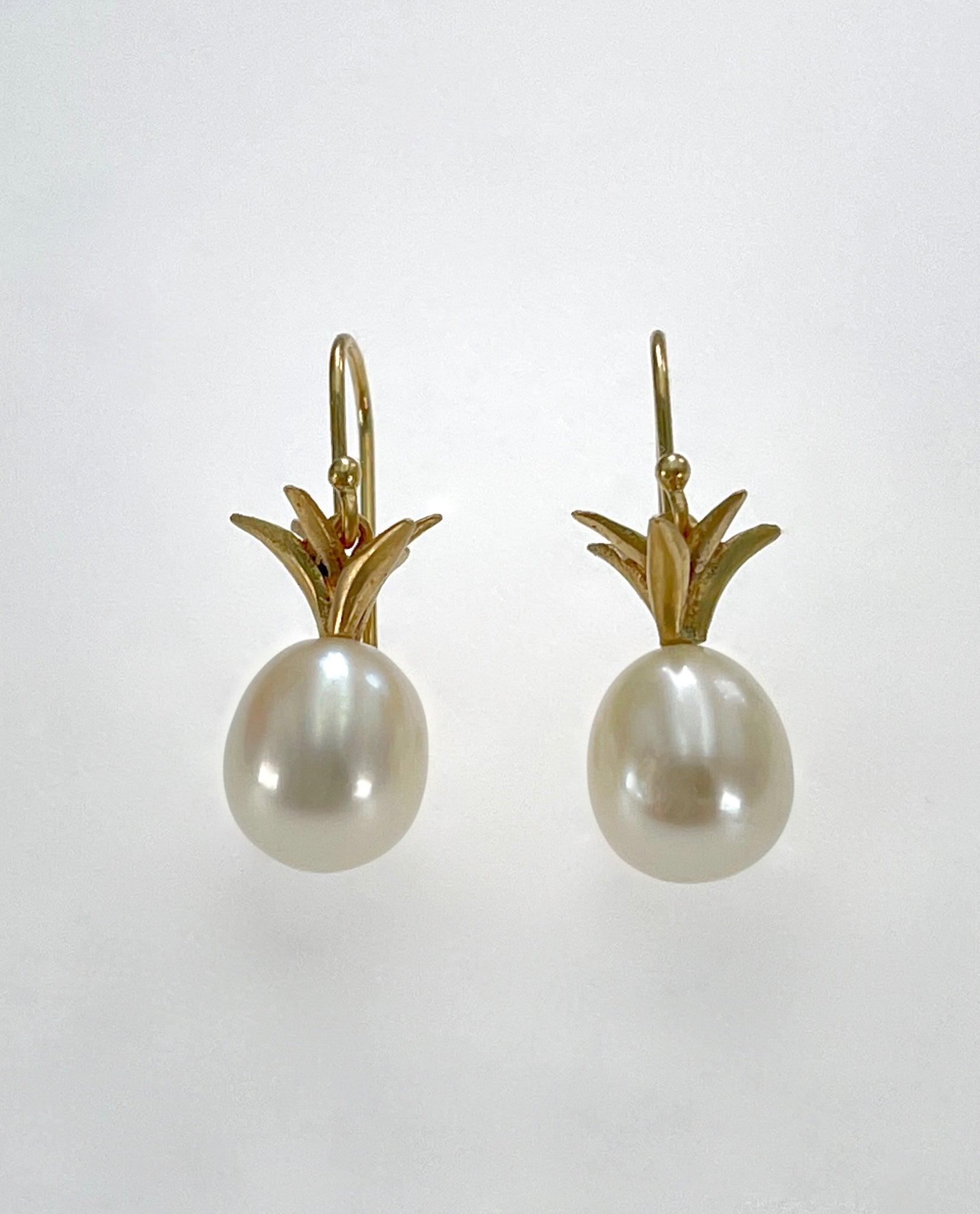 Annette Ferdinandsen Small 10K Gold and White Pearl Pineapple Earrings