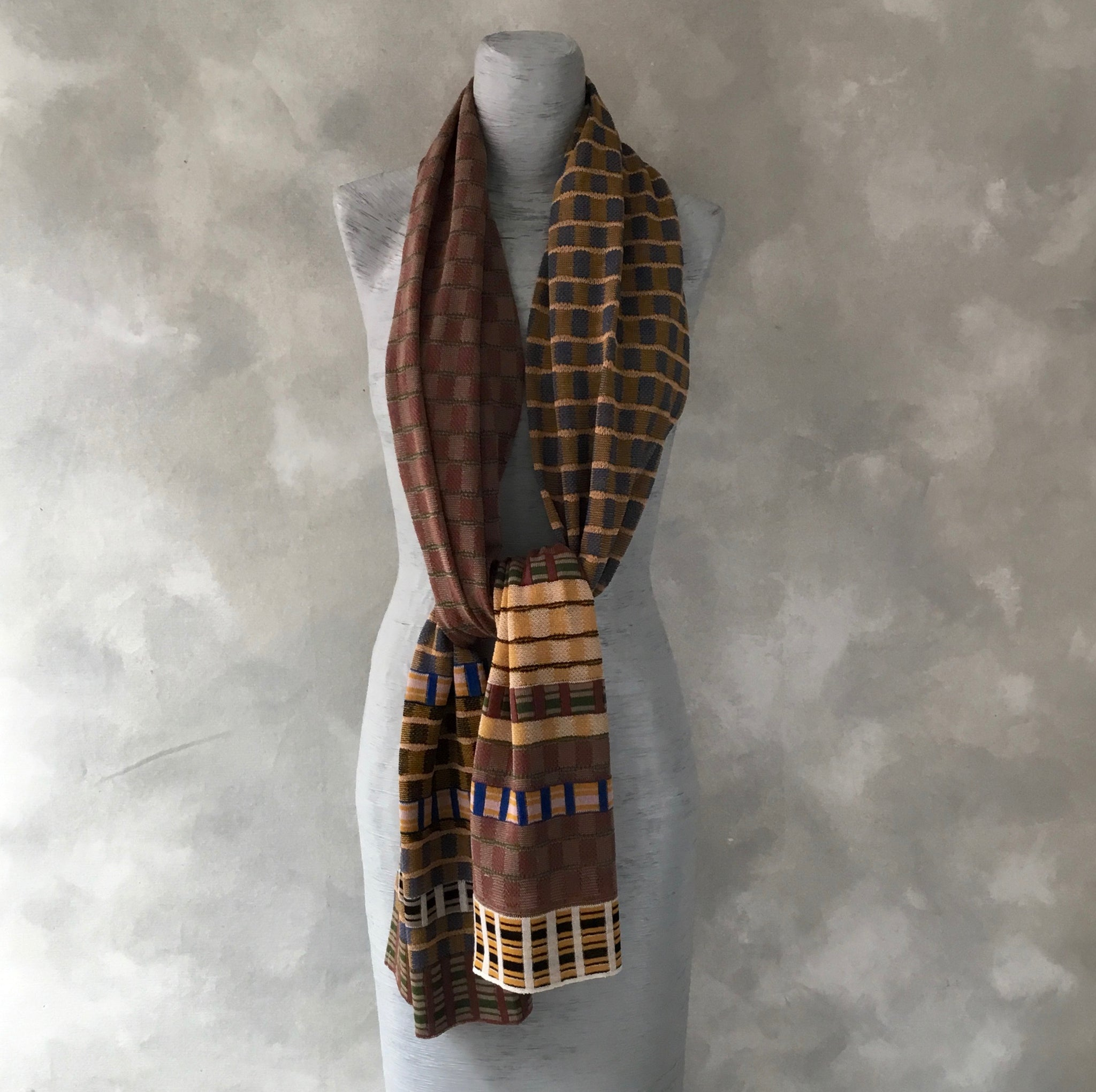 Catherine Andre Check Scarf in Ochre