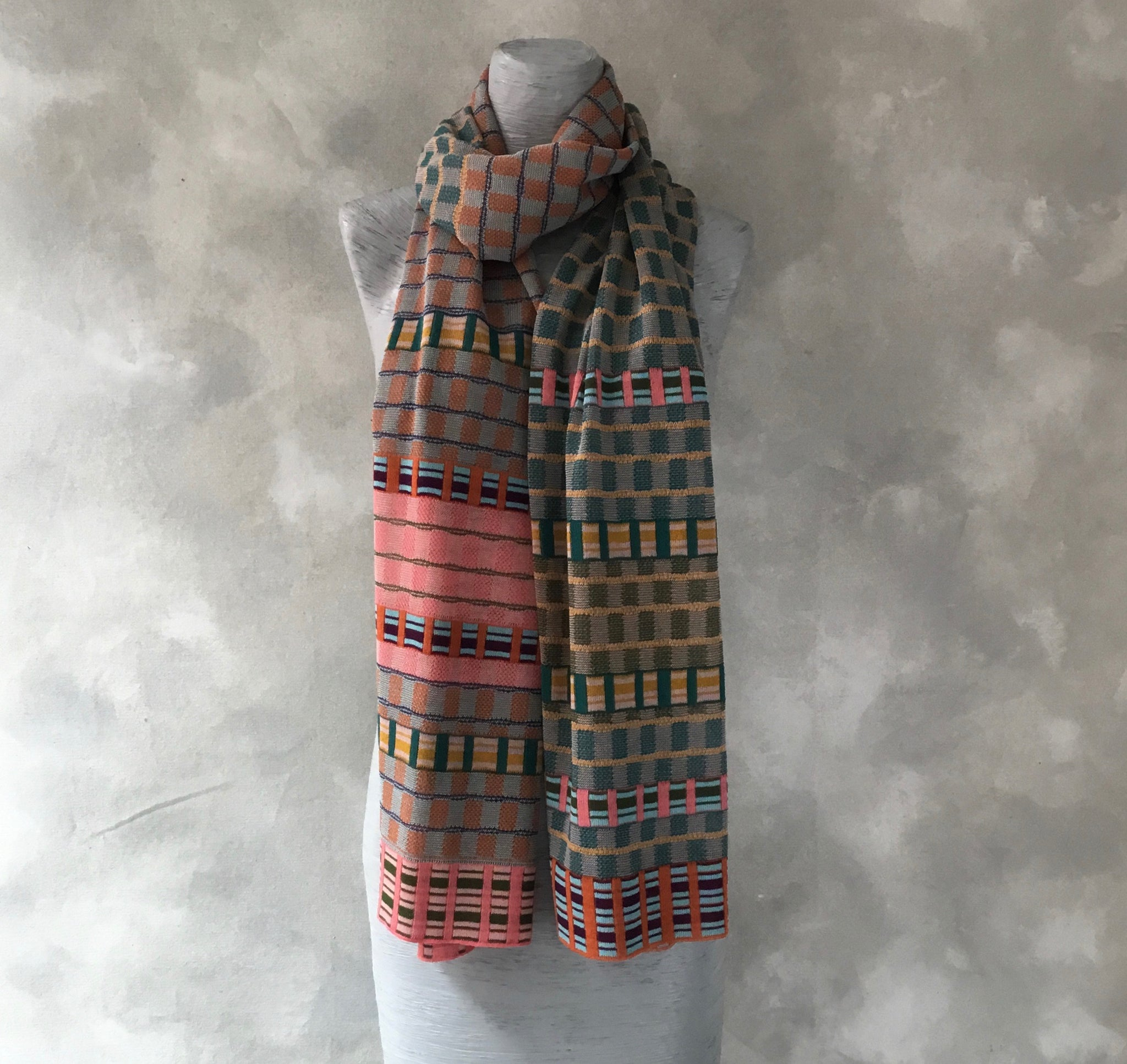 Catherine Andre Check Scarf in Petrole