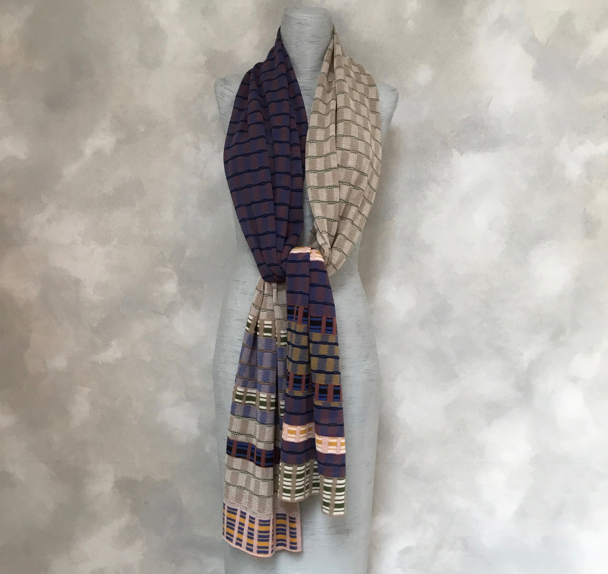 Catherine Andre Check Scarf in Blue