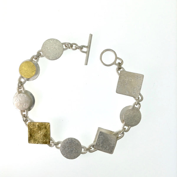 Sterling Chain Square Link Bi-Metal Bracelet